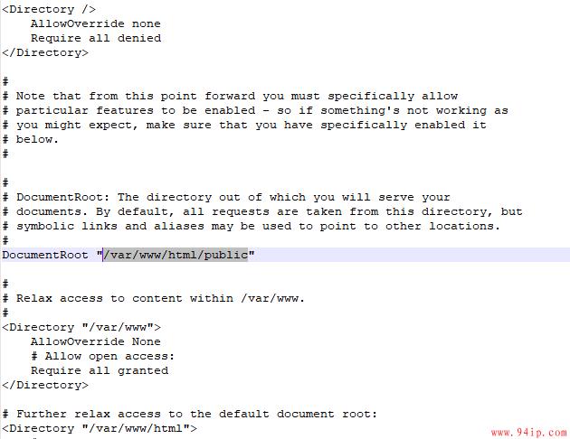 centos7 apche怎么修改php网站的运行目录?